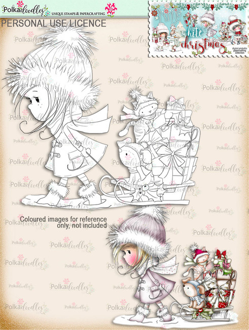 Delivery Gifts by Sledge - Digital Stamp download. Winnie White Christmas printables.Craft printable download digital stamps/digi scrap