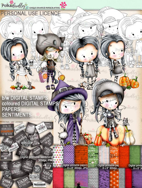 Winnie Wednesday Witch Full Bundle Printable download Halloween Trick or Treat  - Digital Stamp download printable clipart.