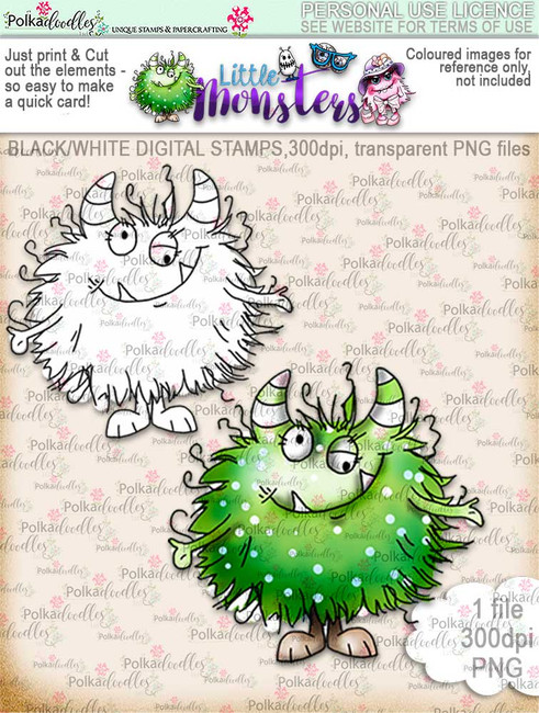 Little Monsters Fuzzpea digi stamp download