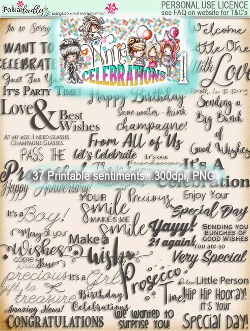 Winnie Celebrations 1 sentiments - digi scrap kit download digital stamps