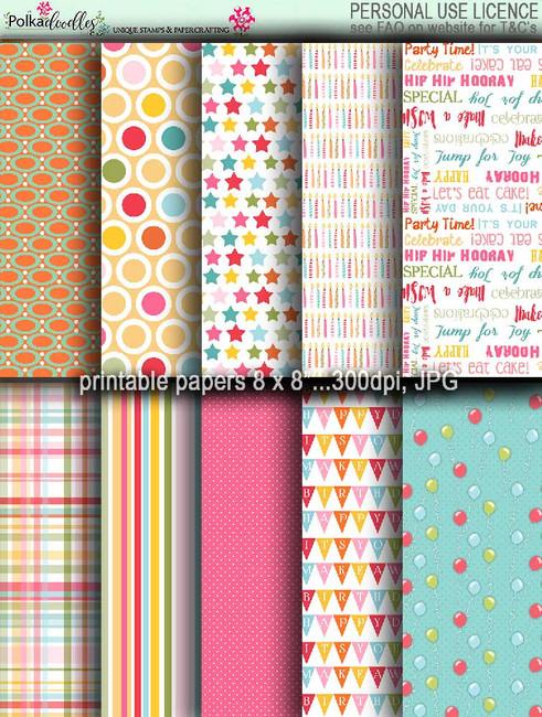 Winnie Celebrations 1... Papers 1 - digi scrap kit download digital paper printables. High quality 300dpi.