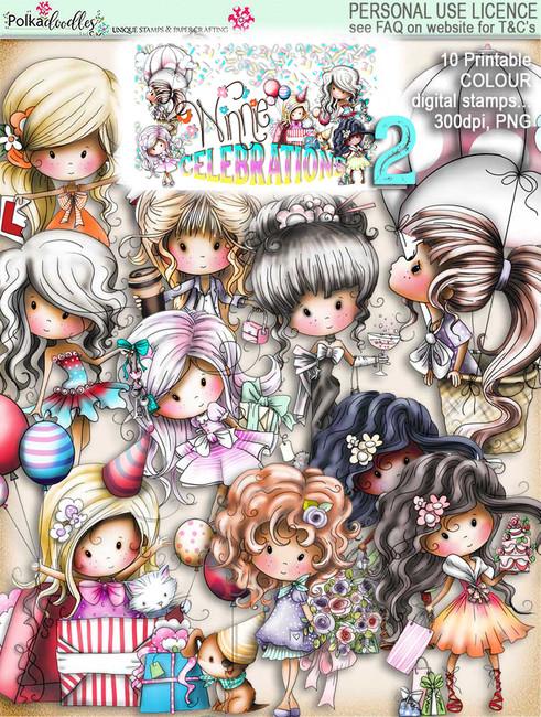 Winnie Celebrations 2... 10 Coloured digi stamps - digi scrap kit download digital printables. High quality 300dpi.