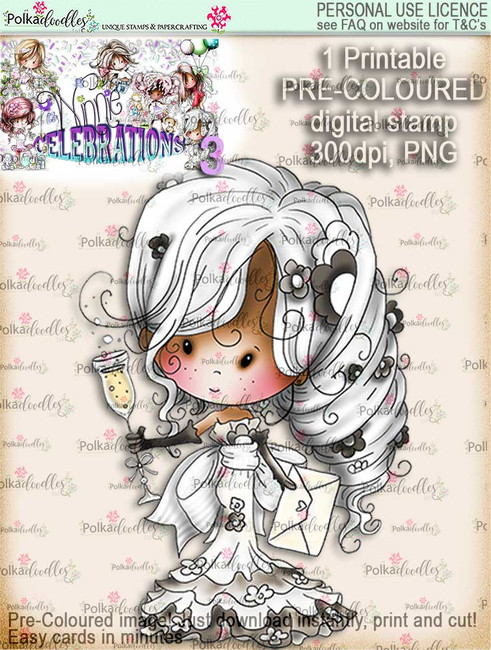 Champagne Celebration COLOUR digi stamp printable download - Winnie Celebrations 3