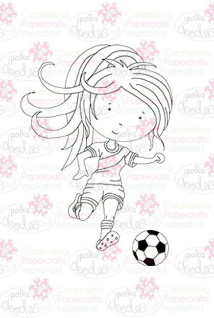 Footballer Girl digital stamp download
