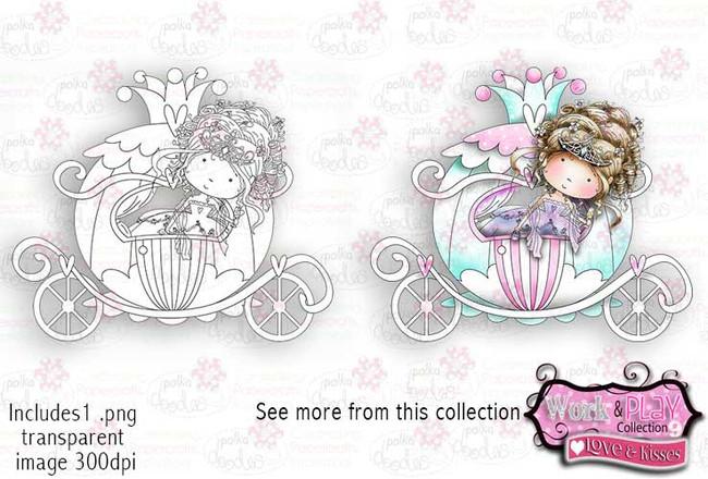 Princess/Bride Carriage Digital Craft Stamp download