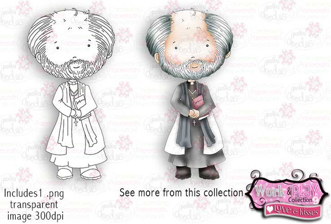 Priest/vicar Digital Craft Stamp download