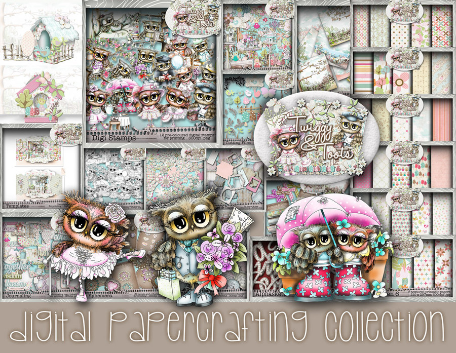 Twiggy & Toots Owls Digital Paper Craft Download Collection