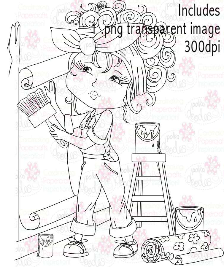 Female Painter, Decorator. Decorating - Digital Stamp Download