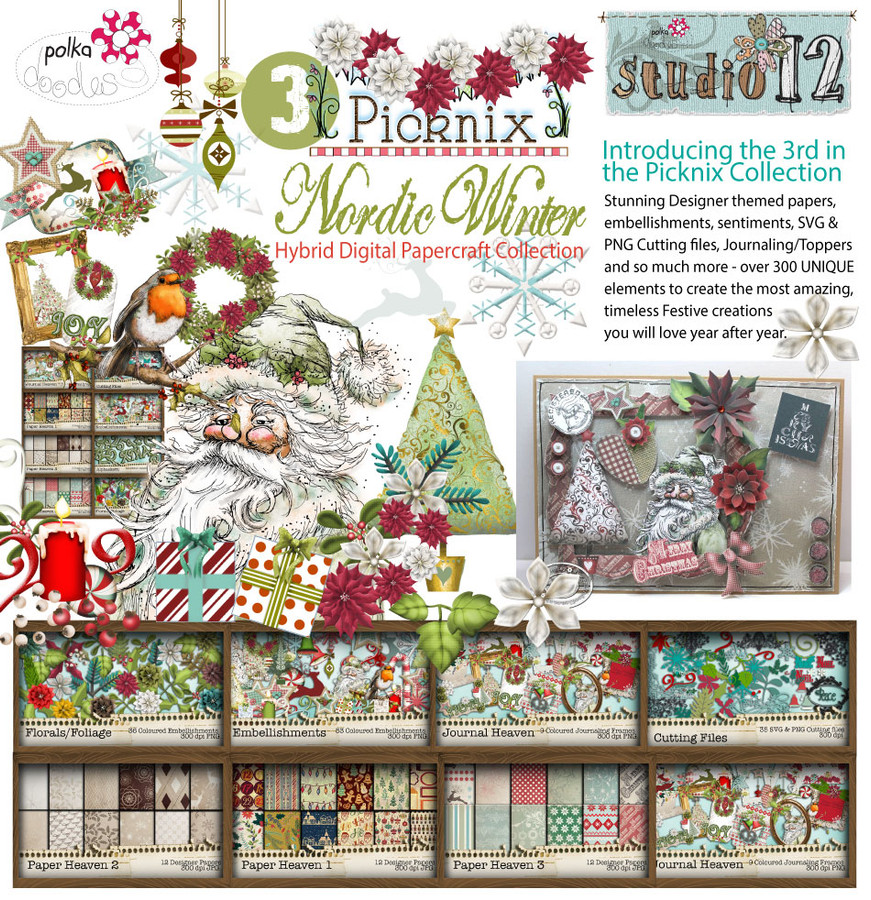 Picknix 3 Nordic Winter - Downloadable Digital CD Crafting Collection
