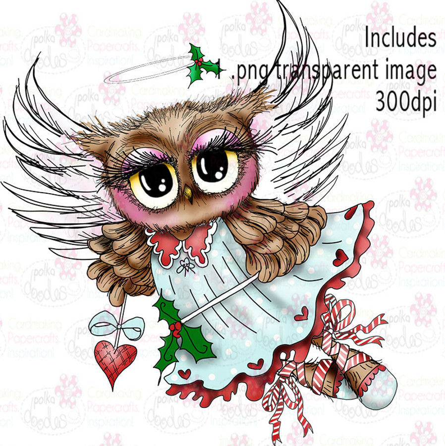 Angel Owl - Twiggy & Toots - Digital Craft Stamp Download