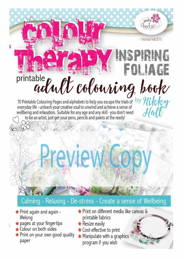 Colour Therapy 2 Inspiring Foliage - Downloadable Adult printable Colouring Book