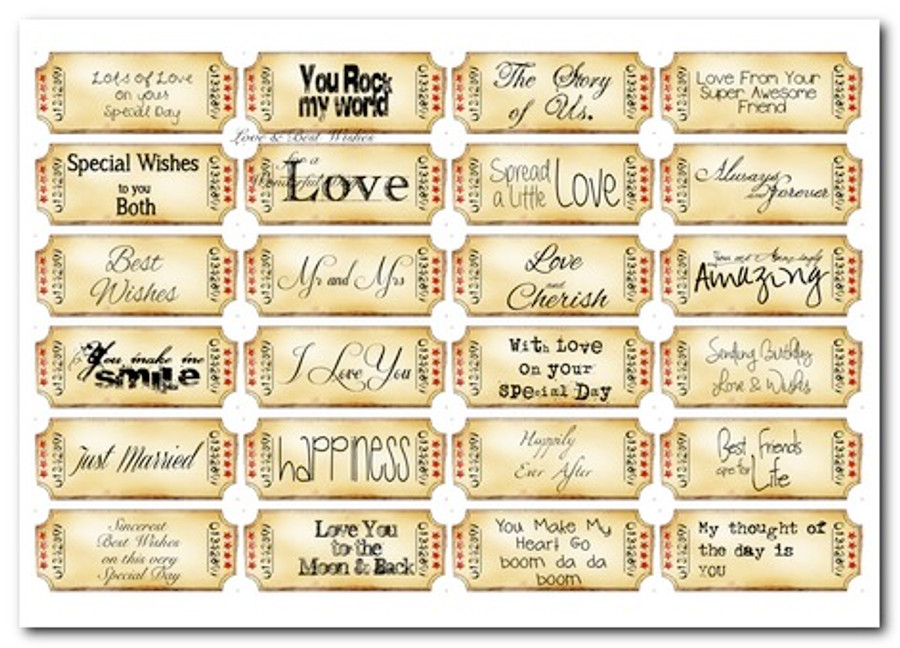 Love/Romance Love & Kisses sentiment tags - download printable digital stamp