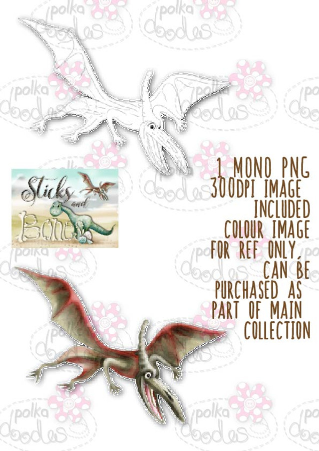 Sticks & Bones - Dinosaur Pterodactyl - Digital Stamp CRAFT Download