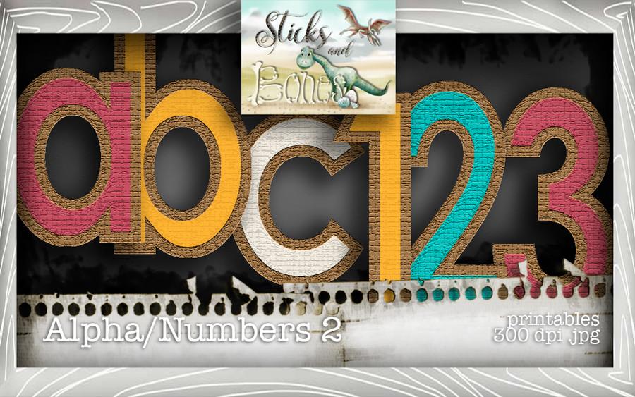 Sticks & Bones - Alphabet 2 - Digital Stamp CRAFT Download