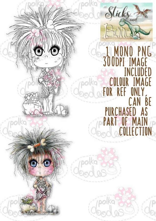 Sticks & Bones - Slingshot Dinosaur girl - Digital Stamp CRAFT Download