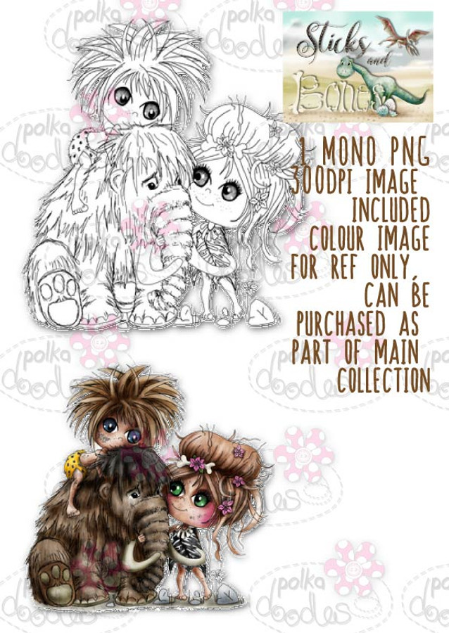 Sticks & Bones - Mammoth Friends/Dinosaur - Digital Stamp CRAFT Download