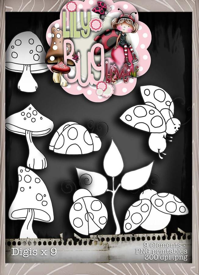 Lily Bug Love digis bundle kit (10 elements) - Digital Stamp CRAFT Download