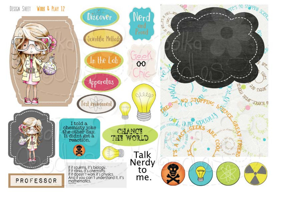 Work & Play 12 Design Sheet - Scientist/Geek girl - Digital Stamp CRAFT Download