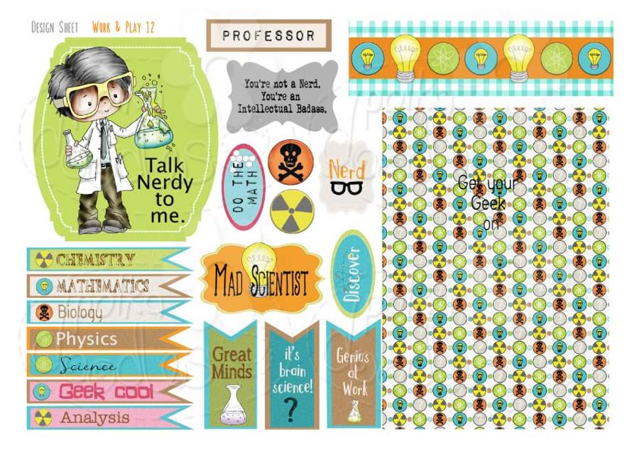 Work & Play 12 Design Sheet - Scientist/geek/student - Digital Stamp CRAFT Download
