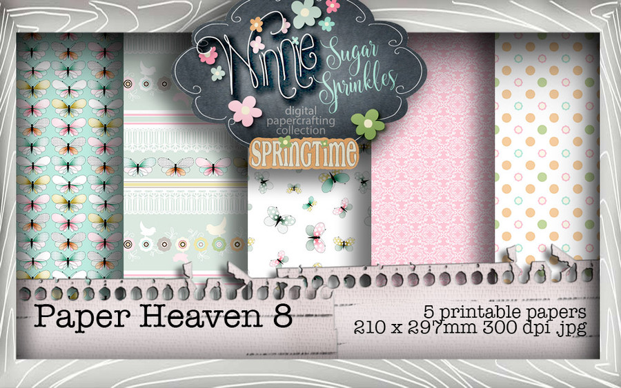 Winnie Sugar Sprinkles Paper Heaven 8 Bundle - Printable Crafting Digital Stamp Craft Scrapbooking Download
