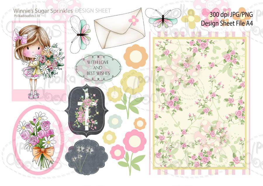 Winnie Sugar Sprinkles Springtime DESIGN SHEET 2 - Printable Crafting Digital Stamp Craft Scrapbooking Download