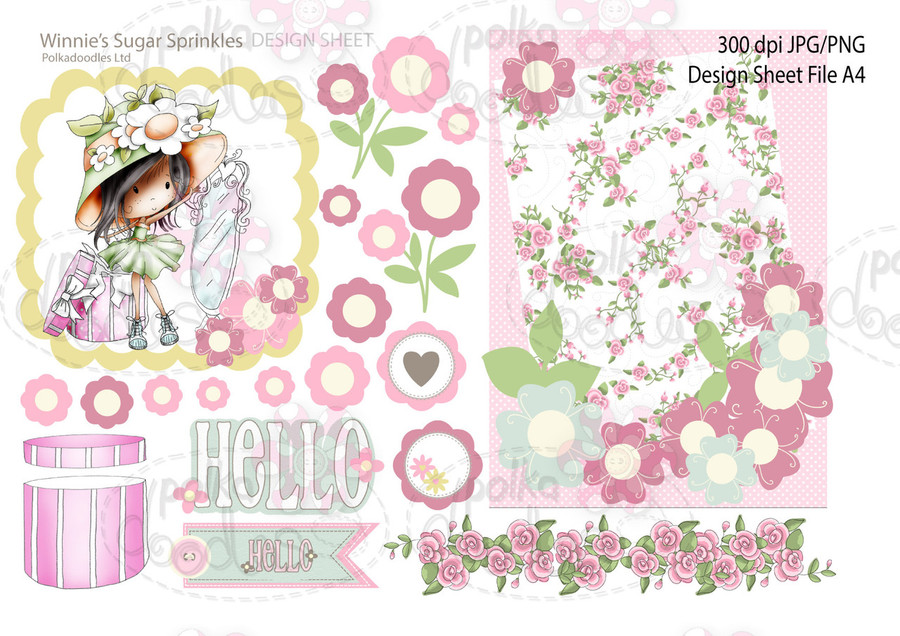 Winnie Sugar Sprinkles Springtime DESIGN SHEET 6 - Printable Crafting Digital Stamp Craft Scrapbooking Download