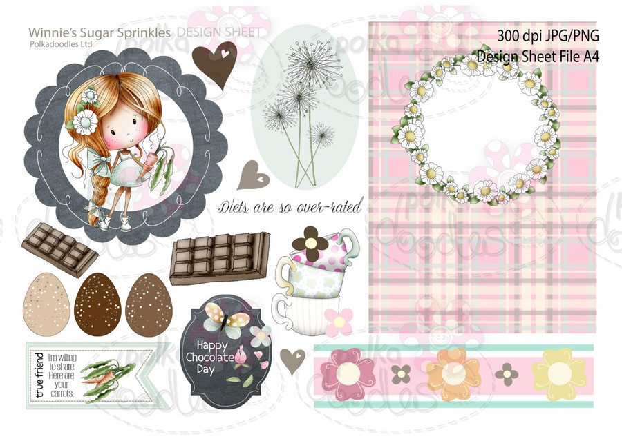 Winnie Sugar Sprinkles Springtime DESIGN SHEET 7 - Printable Crafting Digital Stamp Craft Scrapbooking Download