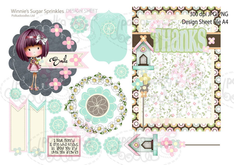 Winnie Sugar Sprinkles Springtime DESIGN SHEET 9 - Printable Crafting Digital Stamp Craft Scrapbooking Download
