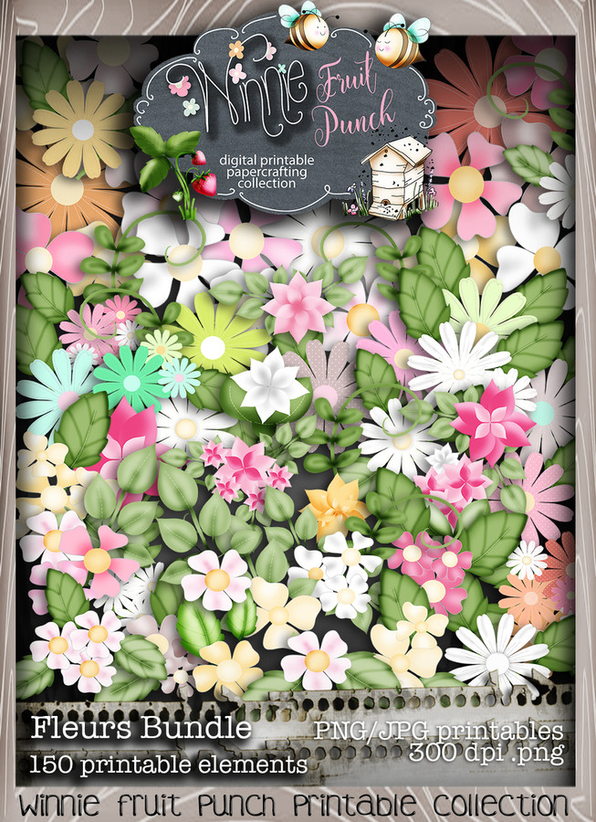 Winnie Fruit Punch Blooms Bundle - Printable Crafting Digital Stamp Craft Scrapbooking Download