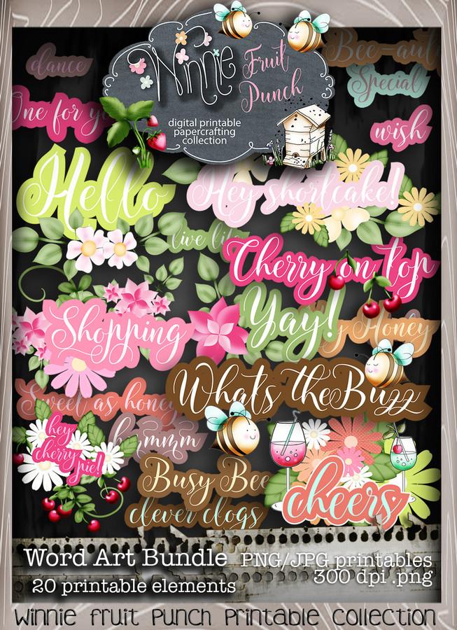 Winnie Fruit Punch Word Art Bundle - Printable Crafting Digital Stamp Craft Scrapbooking Download