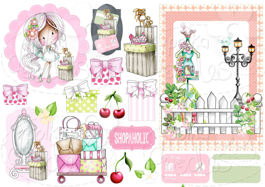 Shoes & Shopping - Winnie Fruit Punch Printable Digital Craft Stamp Download, digiscrap