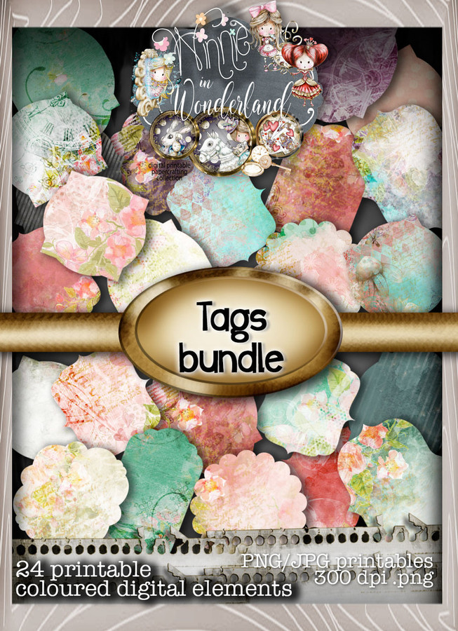 Winnie Wonderland Tags - Printable Digital download