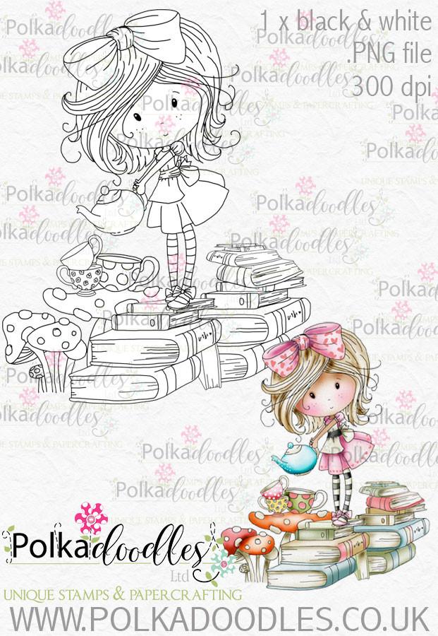Winnie Wonderland Teatime - Printable Digital stamp download