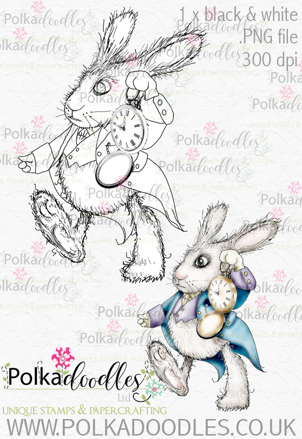 Winnie Wonderland I'm Late - Printable Digital stamp download