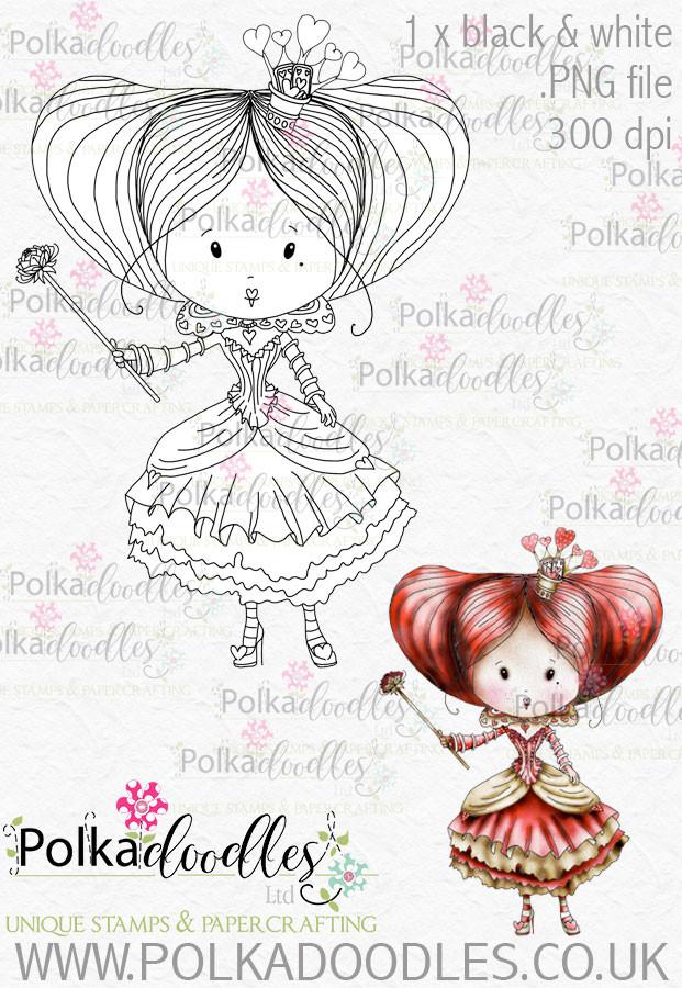 Winnie Wonderland Red Queen - Printable Digital stamp download