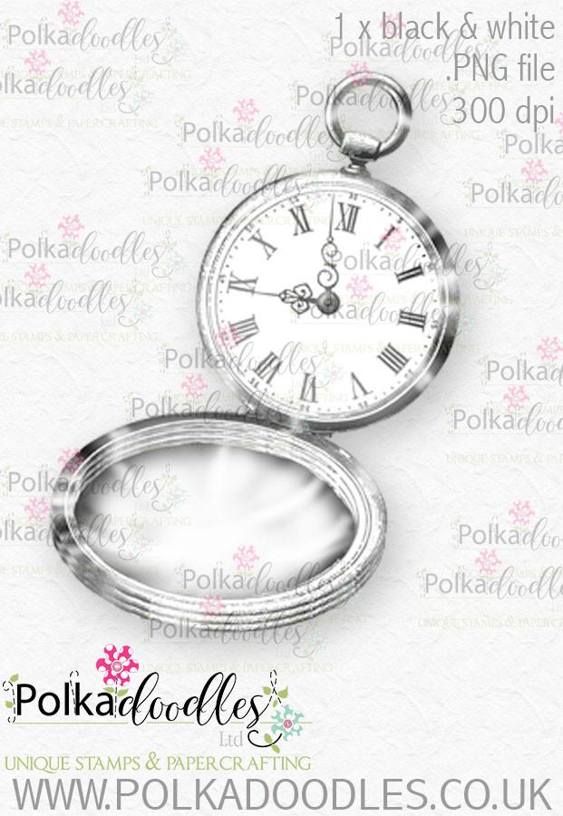 Winnie Wonderland pocket watch - Printable Digital stamp download