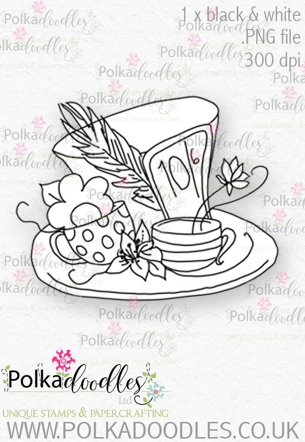 Winnie Wonderland Hat - Printable Digital stamp download