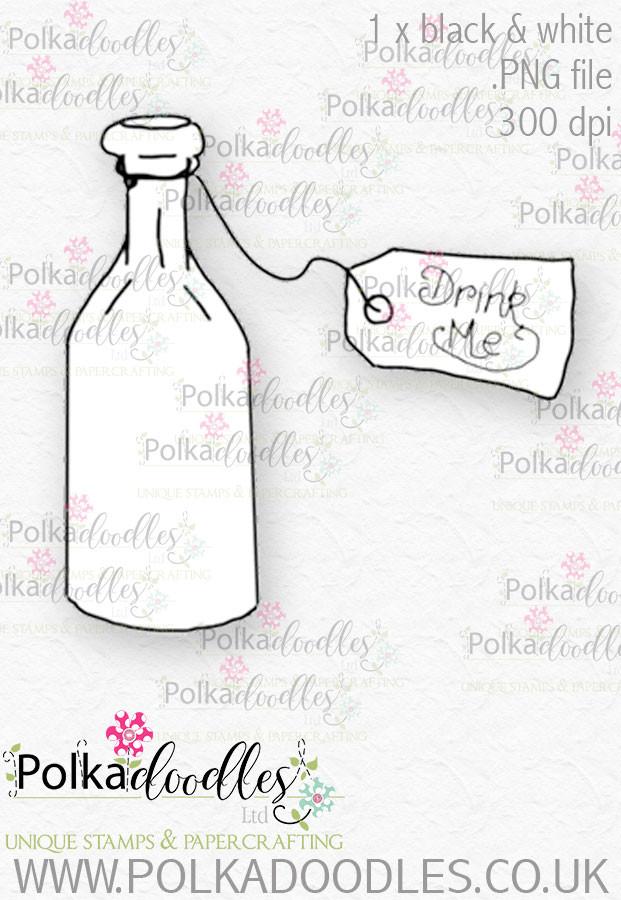 Winnie Wonderland Drink Me - Printable Digital stamp download
