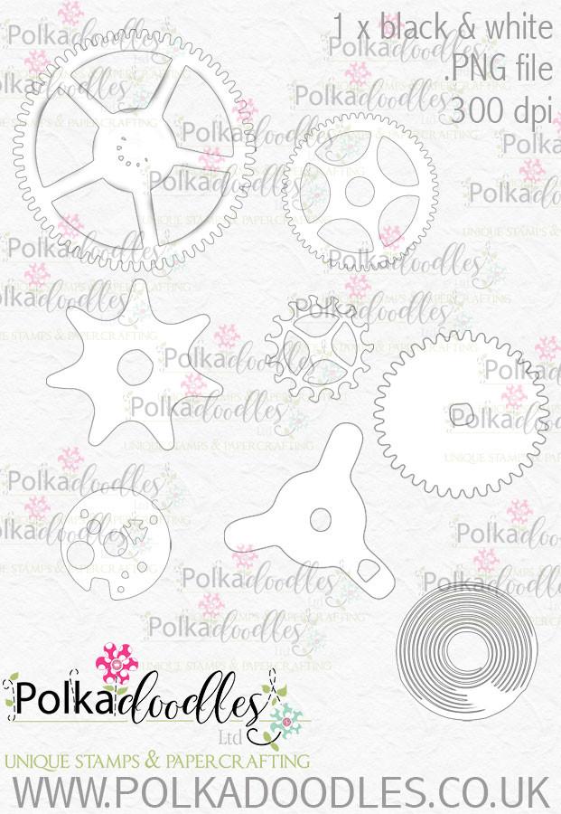 Winnie Wonderland Steampunk cogs/wheels - Printable Digital stamp download