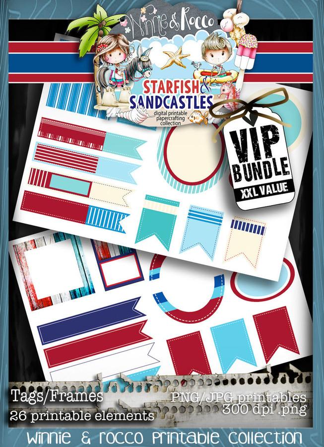 Winnie Starfish/Sandcastles - Tag sheets DOWNLOAD