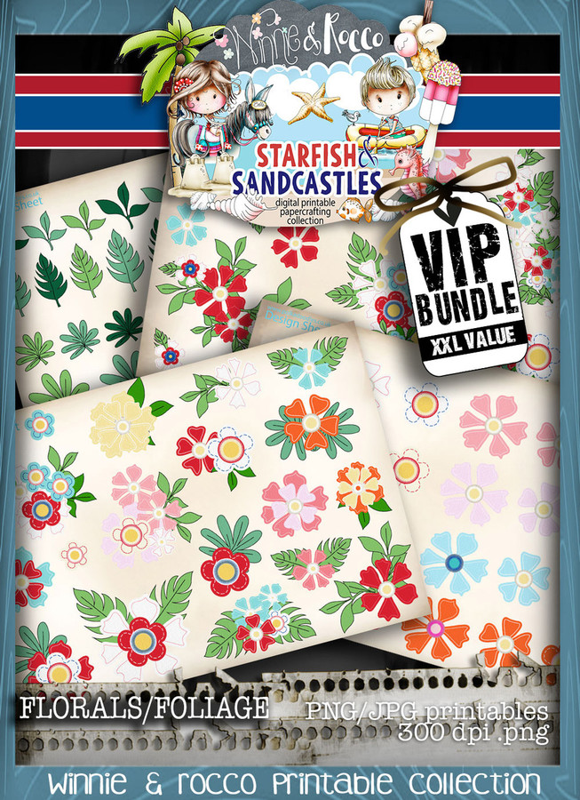 Winnie Starfish/Sandcastles - 30 Colour FOLIAGE digi stamps DOWNLOAD