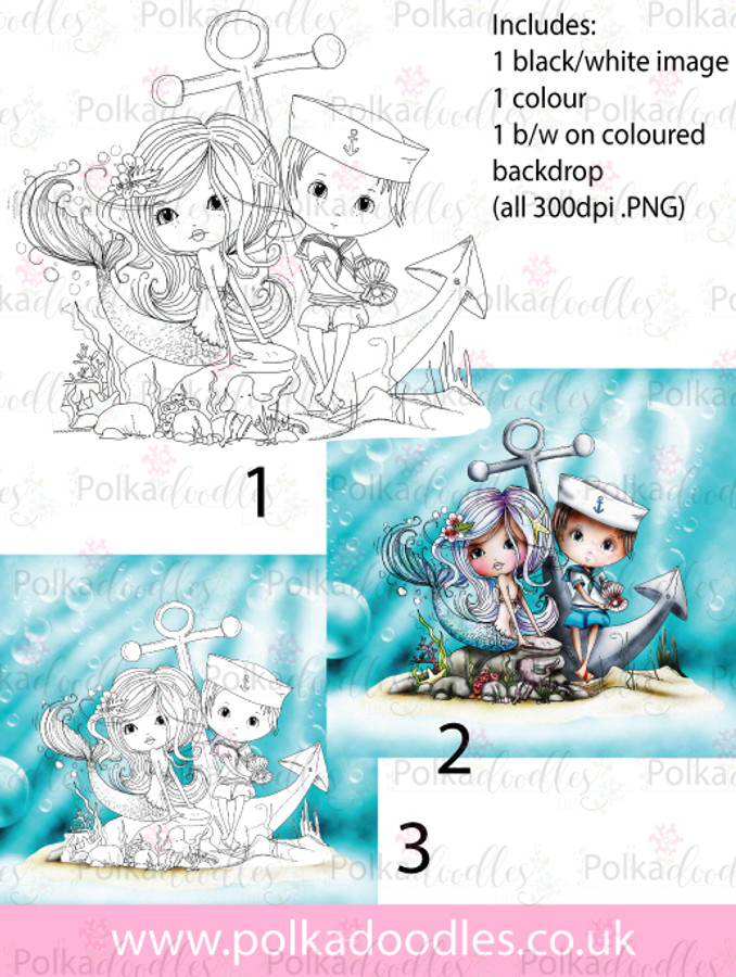 Meribelle Hello Sailor.. 3-for-2 digital craft stamp download