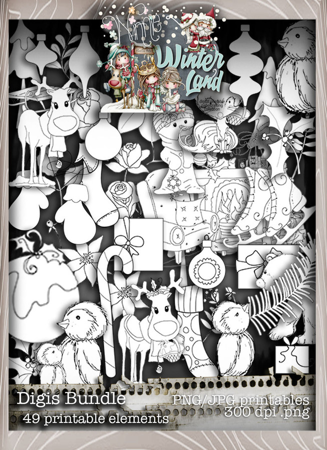 Winnie Winterland - Digis digital craft papers download