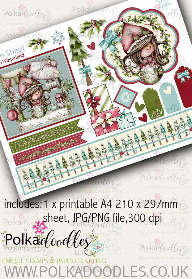 Winnie Winterland - Design Sheet 1 digital craft papers download