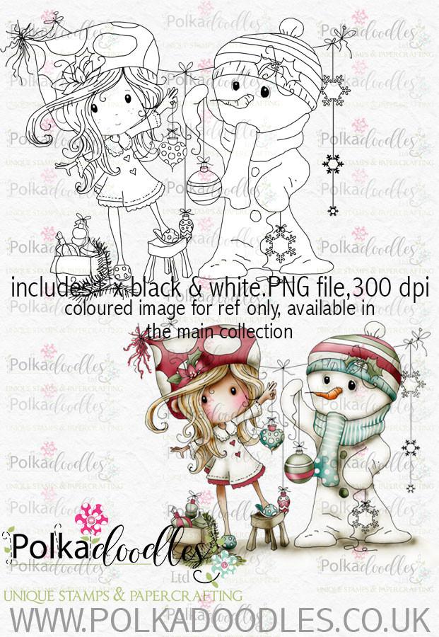 Winnie Winterland - Frosty the Snowman digital craft stamp download