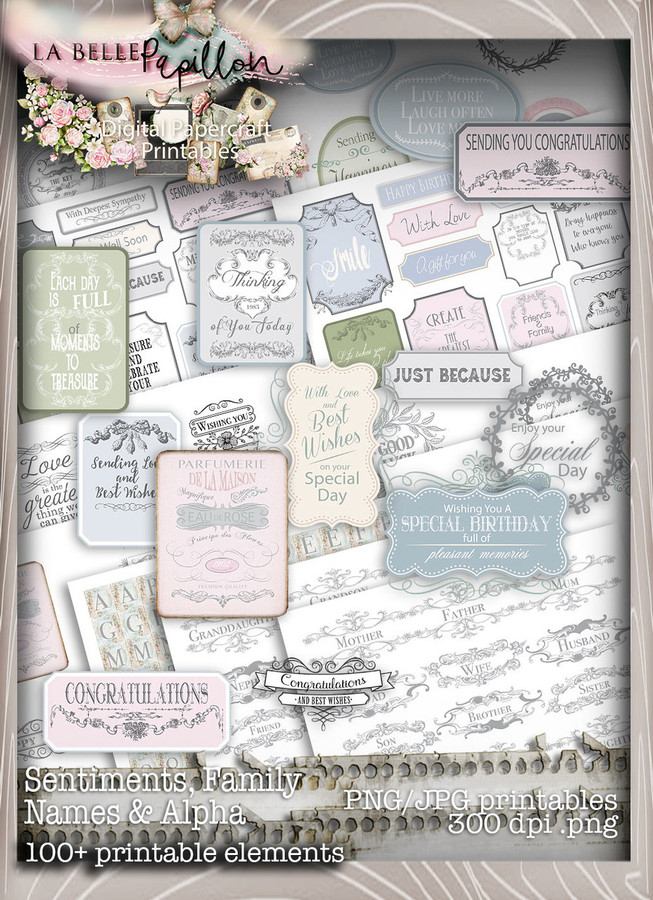 Belle Papillon Vintage Sentiments - Download Printables