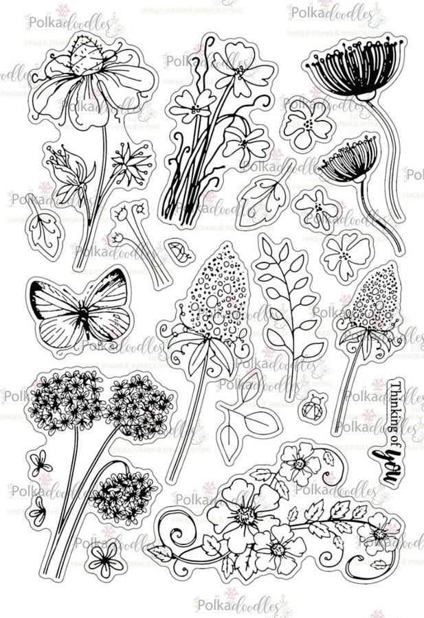 Bella Fleur A5 large Clear Stamp Set