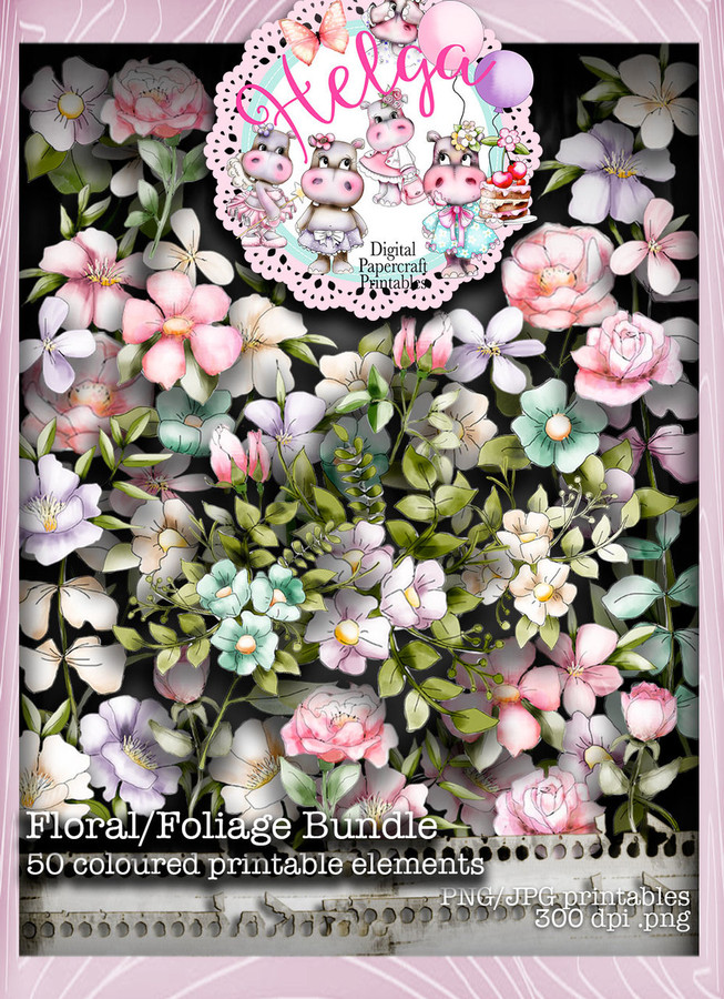 Helga Hippo Floral/Foliage download bundle