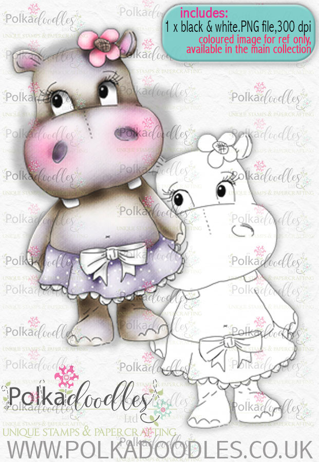Helga Hippo -Hello - download digi stamp