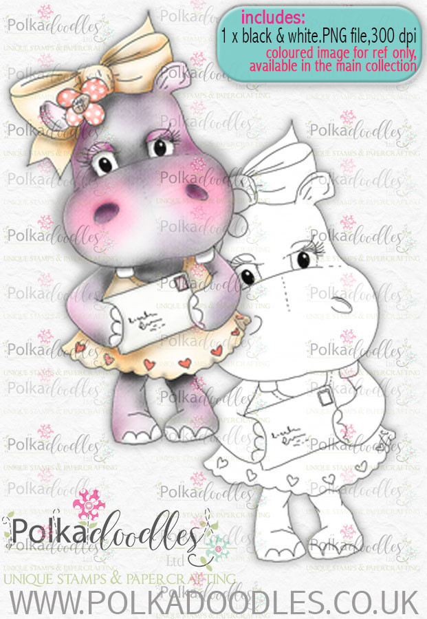 Helga Hippo - Say Hi - download digi stamp